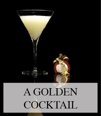 A LUXURY COCKTAIL WITH MANGOSTEEN CHILI PEPPER VODKA AND EDIBLE GOLD