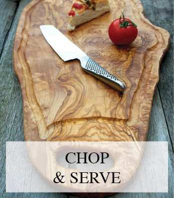 LARGE OLIVE WOOD CHOPPING BOARD AND RUSTIC SERVING PLATTER