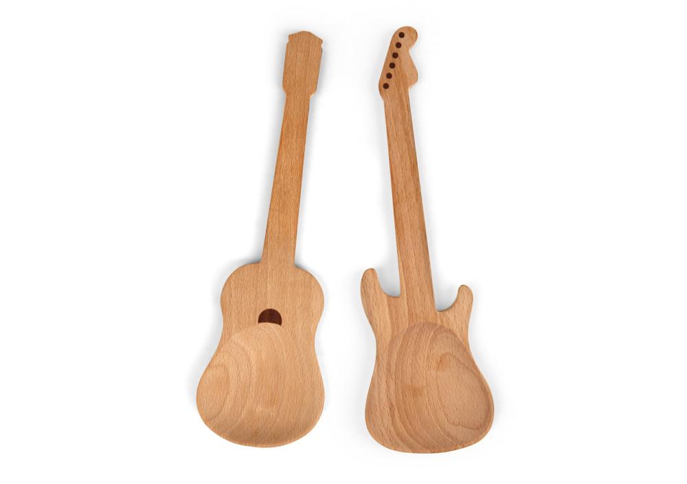 Kikkerland Wooden Guitar Salad Spoons