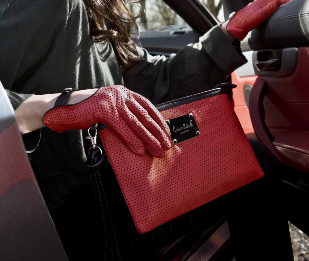 Laimböck matching red leather Cargloves and Clutch